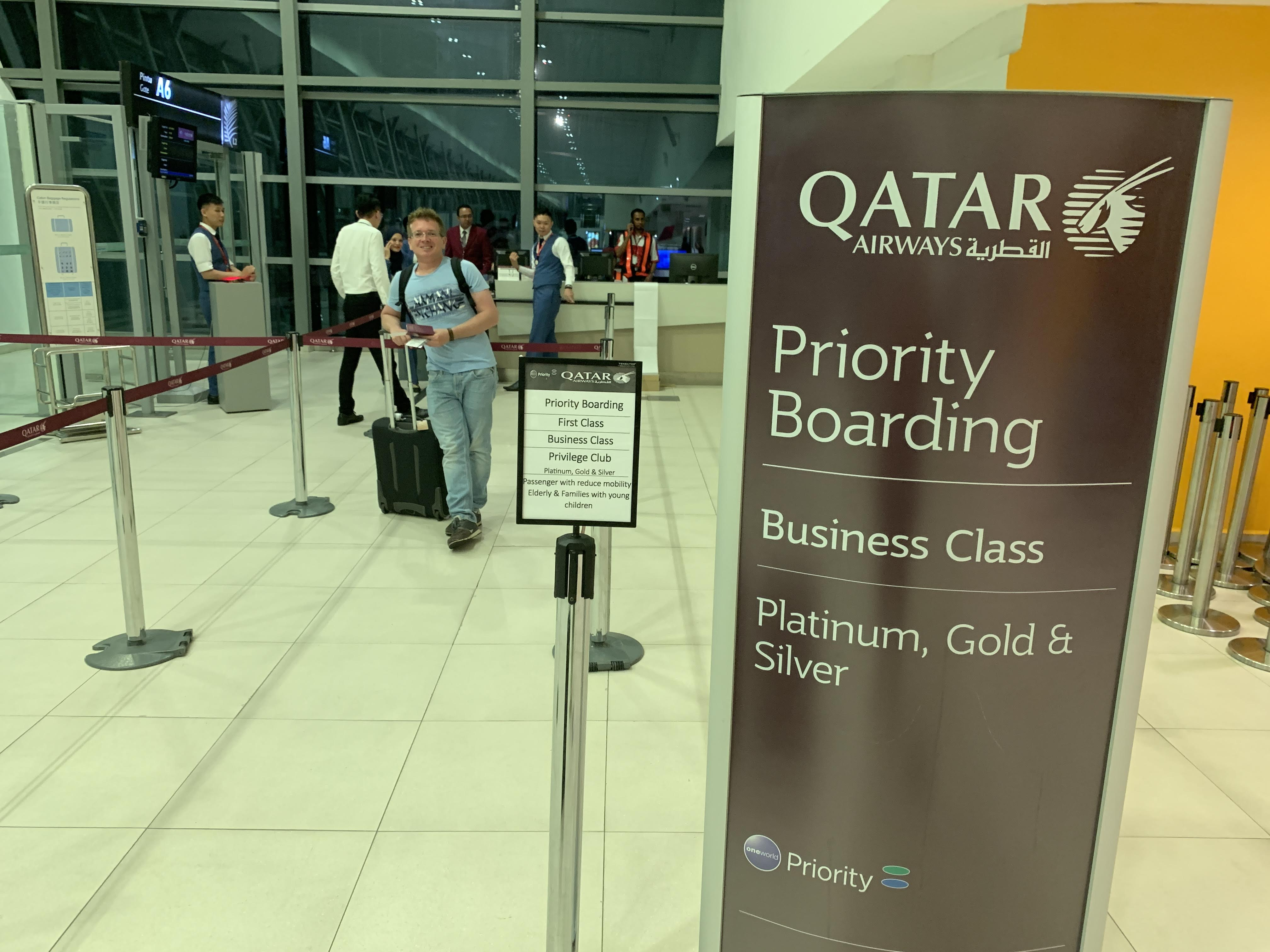 A330 qatar business class review boarding gate Penang