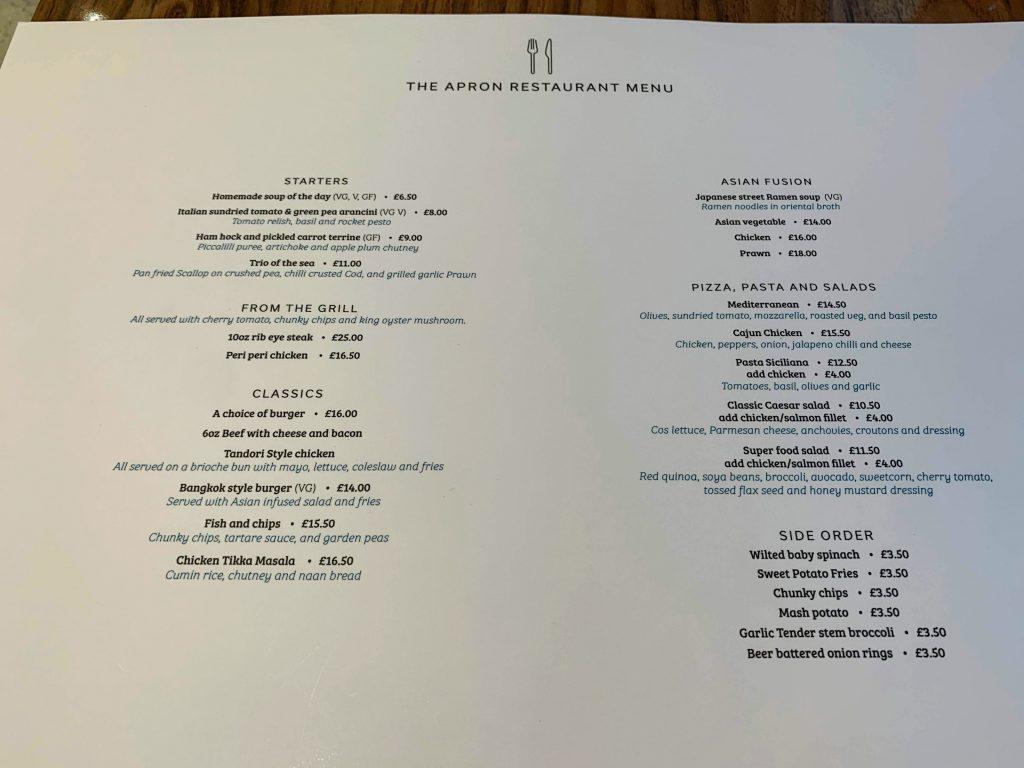 Hilton Garden Inn T2 Heathrow apron restaurant menu