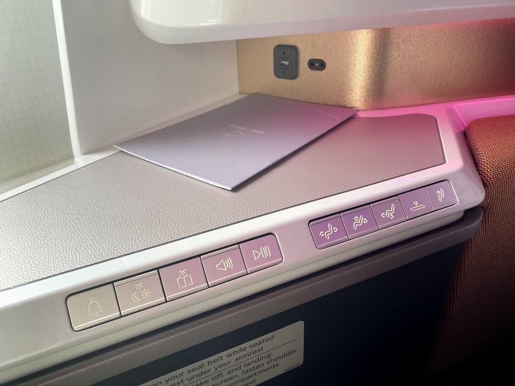 Virgin A350 seat controls upper class suite