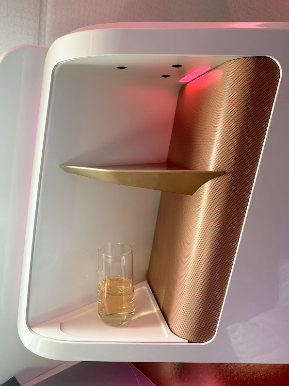 Virgin A350 upper class boarding drink