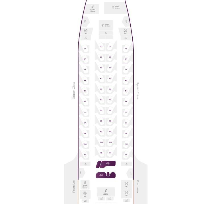 Virgin A350 upper class seat map