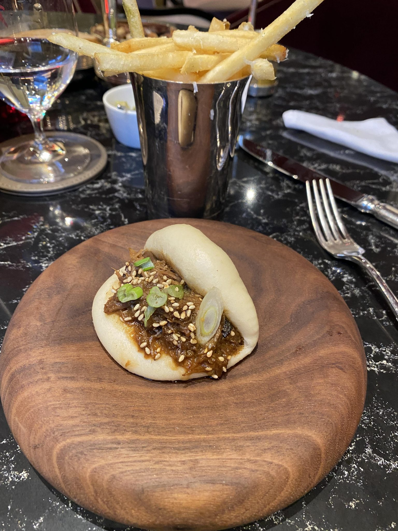 Biltmore Mayfair Pine Bar, duck bao