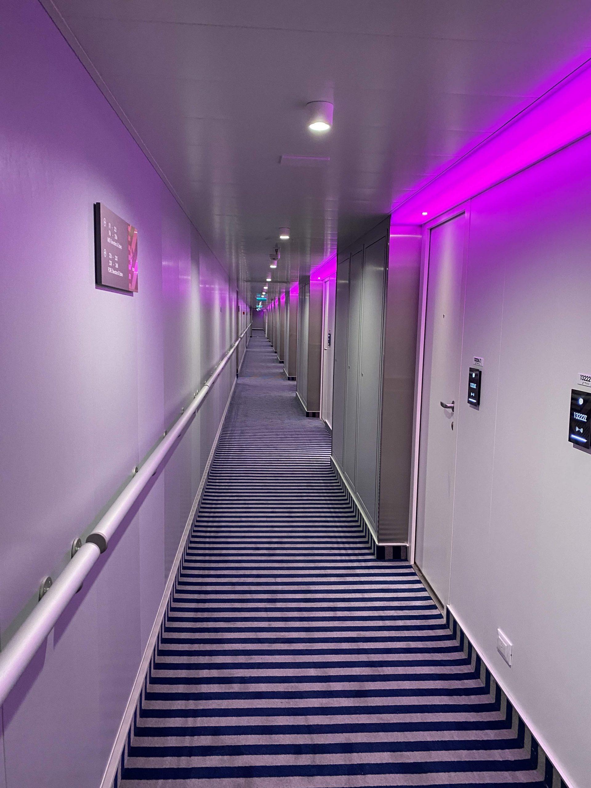 Virgin Voyages Scarlet Lady corridor