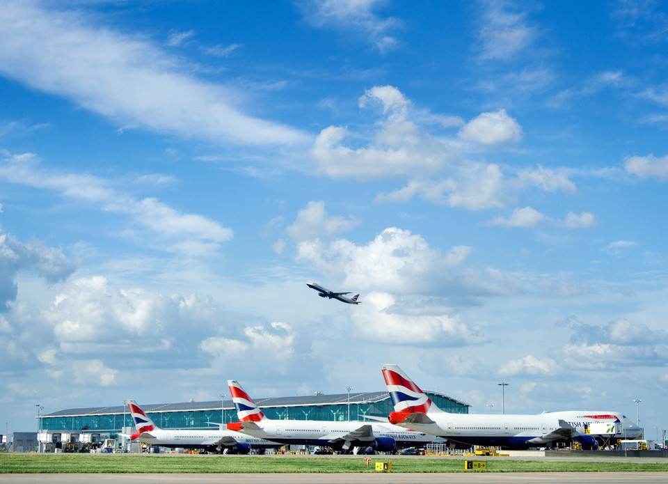 Heathrow airport on a sunny day in London, UK.