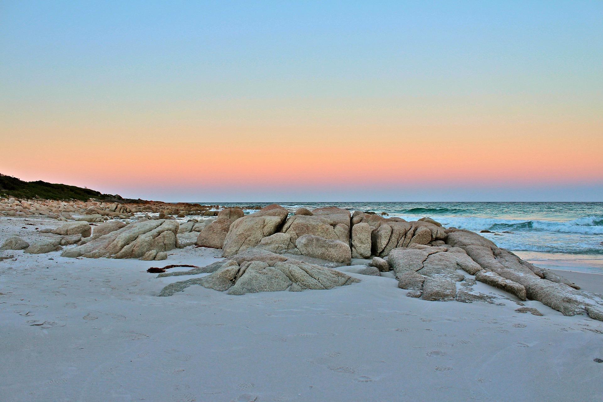 Sunset over beach, Tasmania