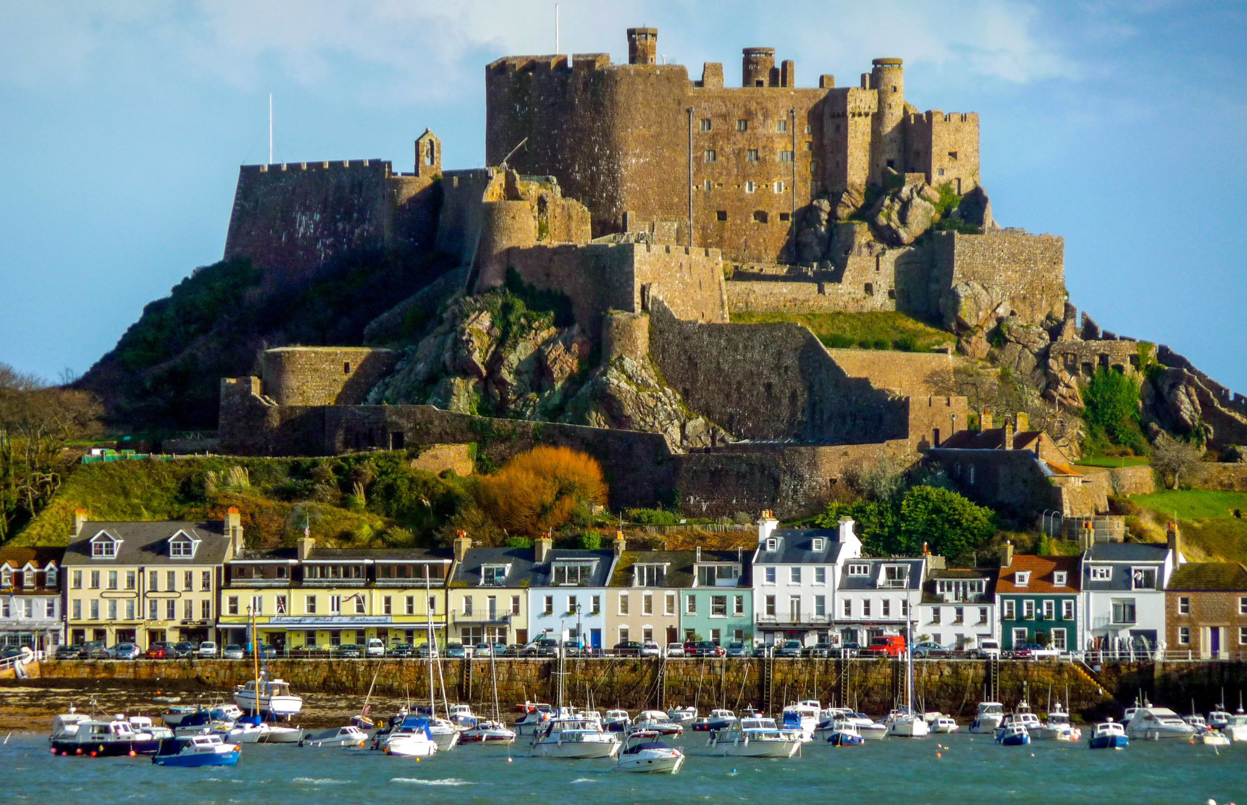 Harbour and castle on Jersey