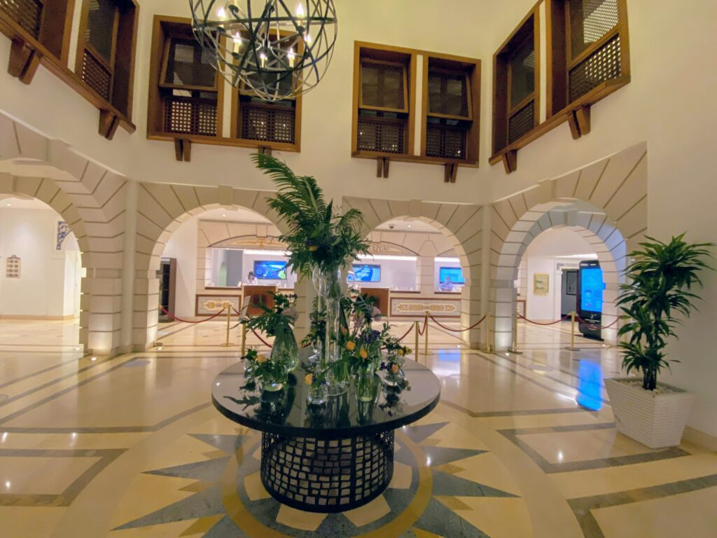 The Pines hotel reception area