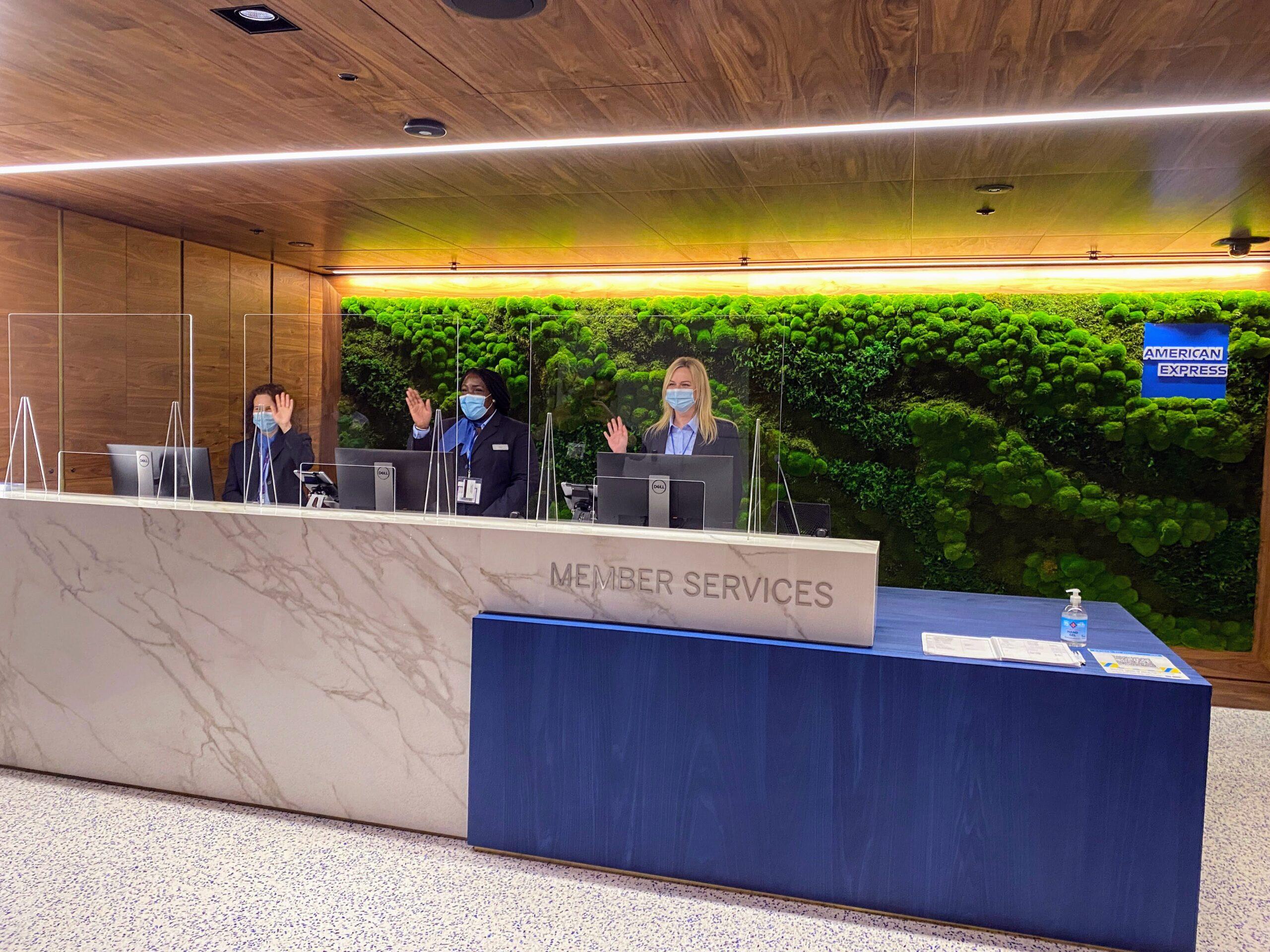 American Express New Centurion Lounge at London Heathrow T3 reception desk