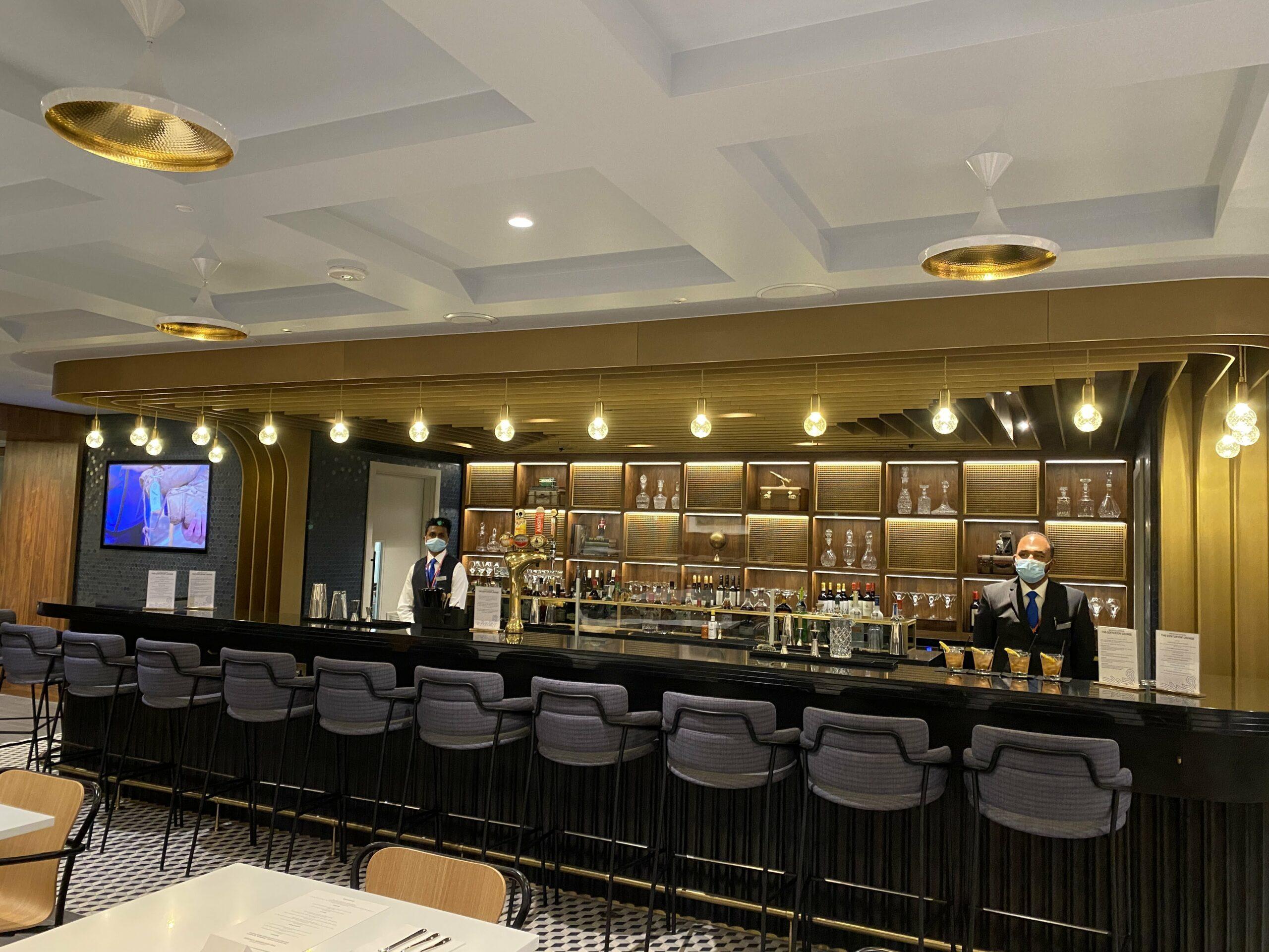 American Express New Centurion Lounge at London Heathrow T3 bar